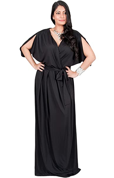 Adelyn & Vivian Plus Size Womens Long Short Sleeve V-Neck Flowy Gown Maxi  Dress