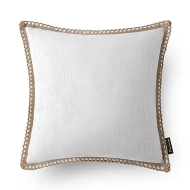 Phantoscope Decorative Farmhouse Serious Off-White Linen Trimmed Throw Pillow Case Cushion Cover 18  x 18  45 x 45 cm