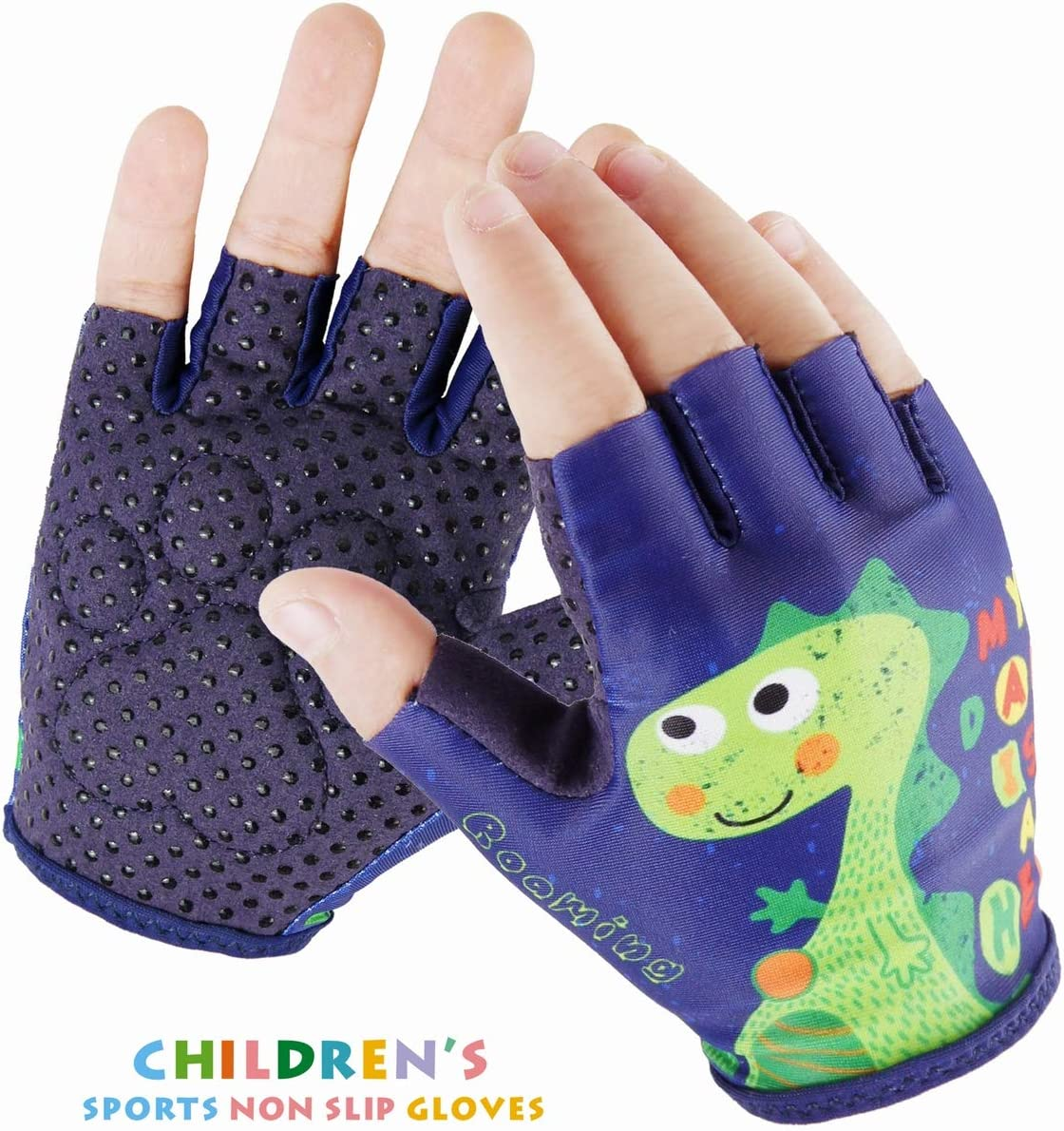 Kids Half-Finger Monkey Bar Gloves for Age 1-9 Boys Girls Climbing Biking Good Grip Control Gloves for Gymnastics Balance Boards Outdoor Sports