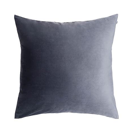 Funda cojín Velvet 100% poliéster, Color Gris. Terciopelo Liso, Un básico Ideal 45x45 cm.