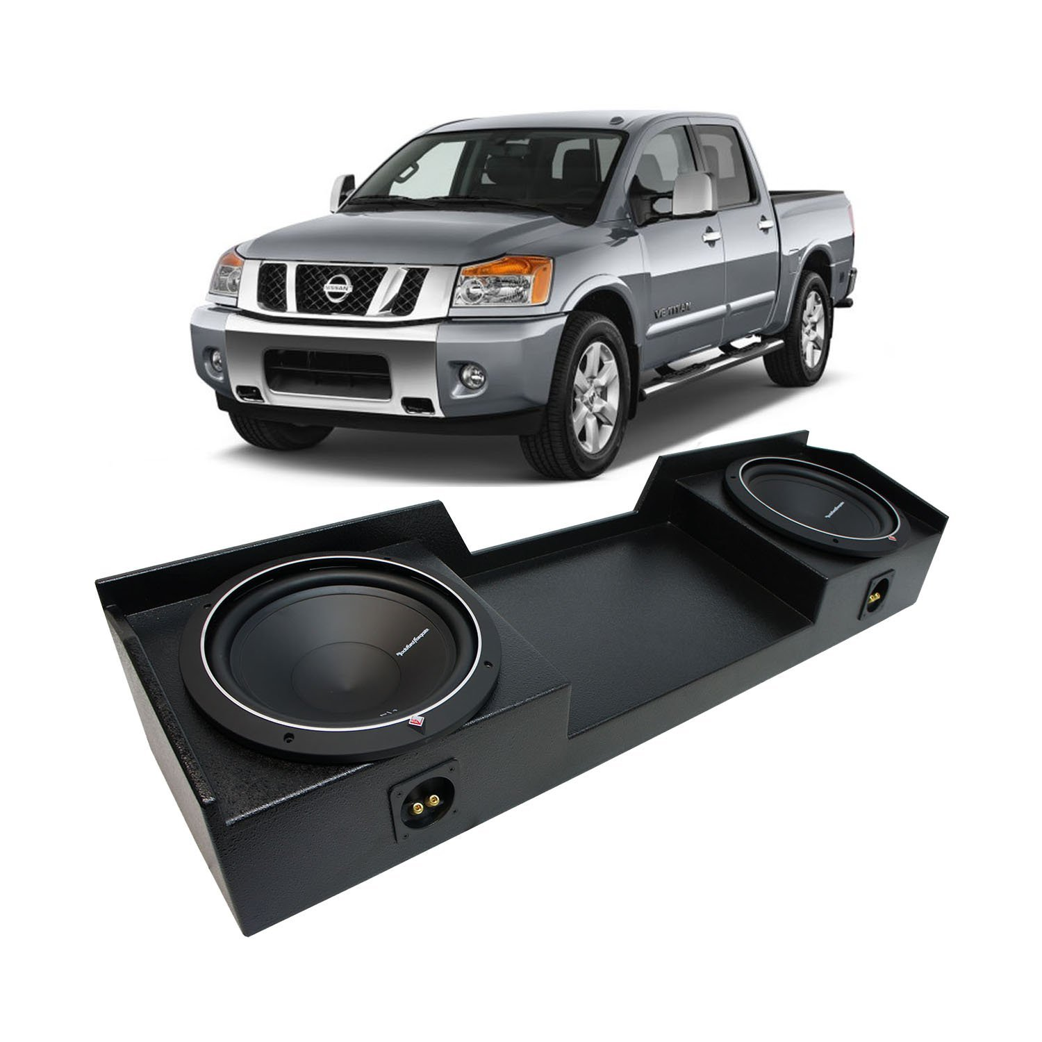 04-15 Nissan Titan King or Crew Truck Rockford Punch P1S410 Dual 10'' Rhino Coated Sub Box - Final 2 Ohm by American Sound Connection
