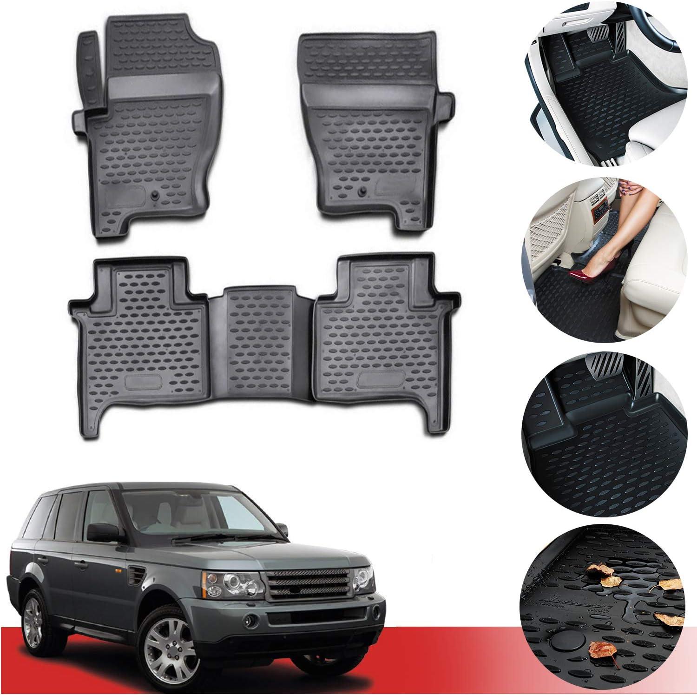 OMAC Complete Set Custom Fit All-Weather 3D Molded Black Rubber Floor Mat for Land Rover Range Rover Sport 2006-2013 L32