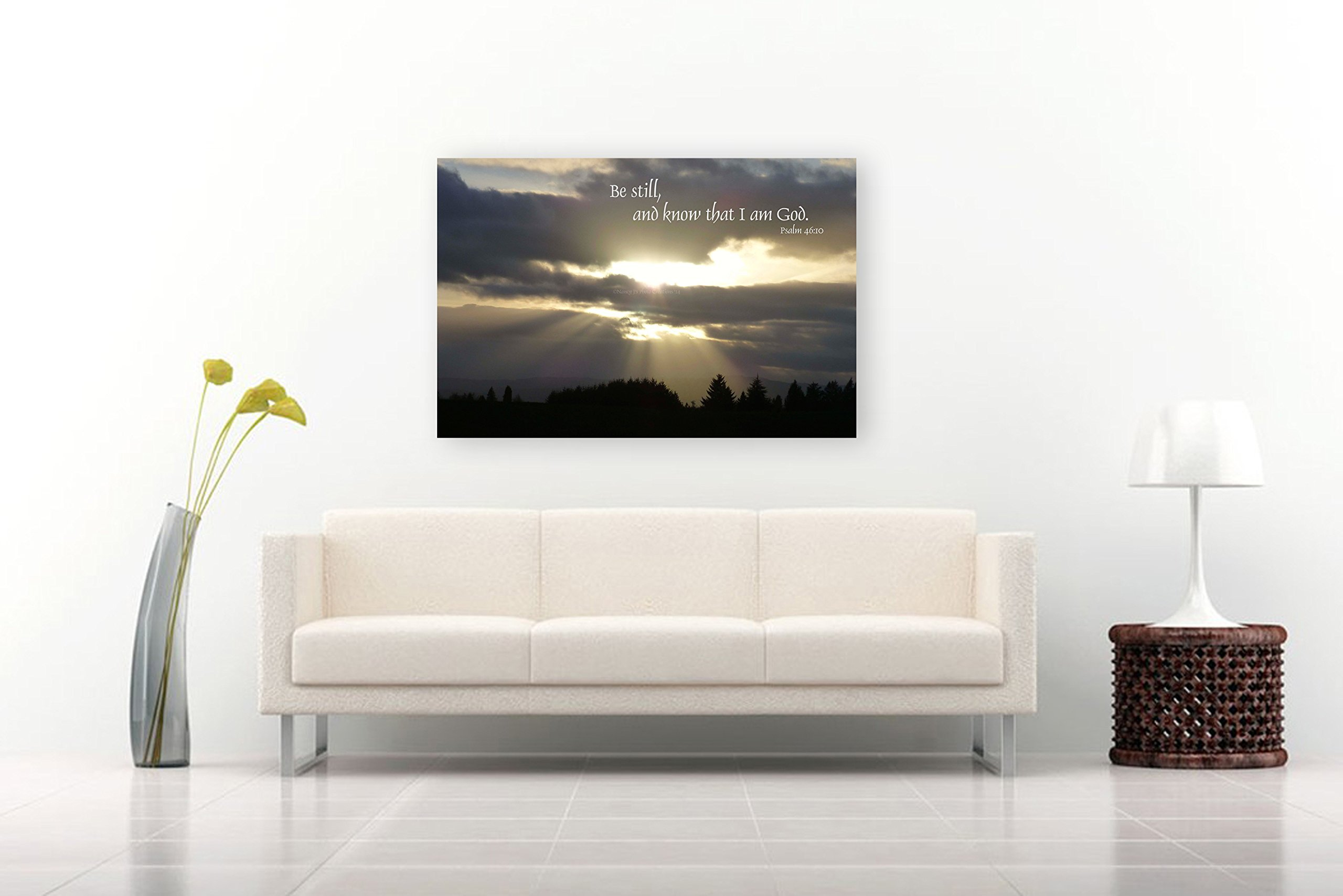 Psalm 46:10 Photographic Print on CANVAS Christian Art Nature Photography Taupe White Black Religious Home Decor Sunburst Sky Landscape Photo Ready to Hang 8x10 8x12 11x14 12x18 16x20 16x24 20x30