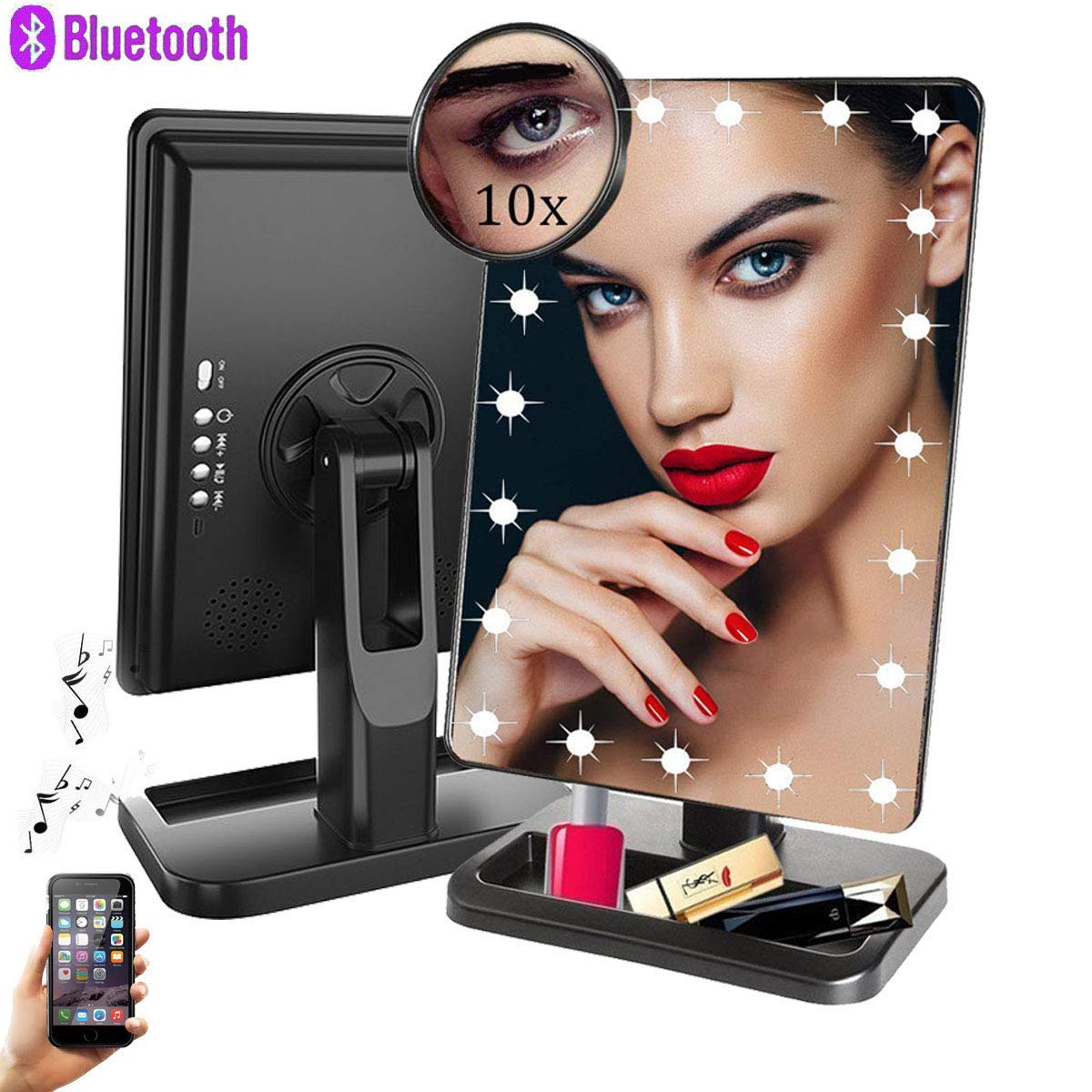 Makeup Mirror with Bluetooth,Removable 10x Magnification,Rechargeable Touch Dimmable Vanity Mirror with 20 Energy-Saving LED Lights,180 Rotation,Lighted Up Cosmetic Mirror for Home Tabletop Travel