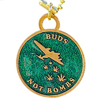 product image for From War to Peace Buds Not Bombs High Flyer O.G. Green Enamel Necklace on Polished Brass Ball Chain