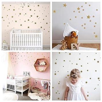 WandSticker4U®- Wandtattoo 60 Sterne zum Kleben   Schwarz/Silber/Gold    Wandsticker Sternenhimmel Aufkleber   Wand Deko für Babyzimmer Kinderzimmer  ...