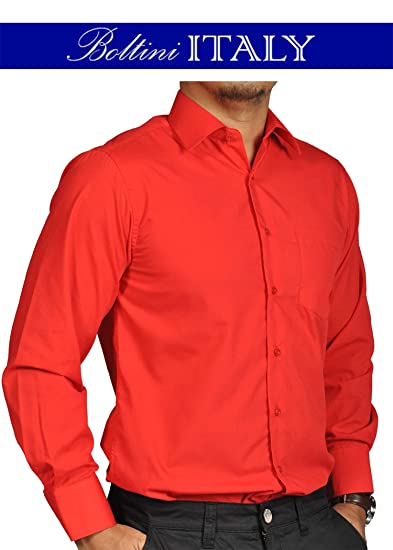 Red Solid Mens Dress Shirt French Convertible Cuff Boltini Italy