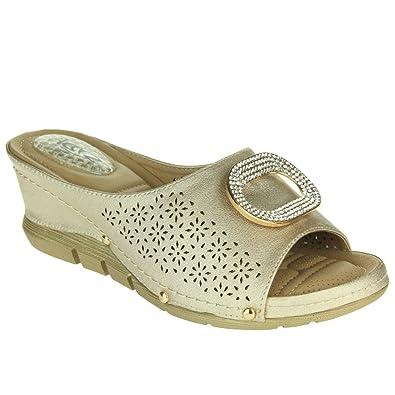e00104b3bd0 Women Ladies Pressure Point Soft Flexible Massage Summer Lightweight Slip  on Wedge Heel Gold Sandals Shoes