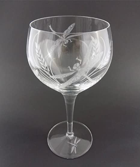 4a8e65258e6 IncisoArt Hand Etched Italian Crystal Goblet Sandblasted (Sand Carved)  Handmade Wine Water Glass Engraved (Dragonfly Grass, 500 Milliliter (17  Ounce) ...