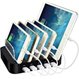 Stazione di Ricarica, ELEGIANT 5 Porte Multi-Dispositivi Organizzatore di Cavi, Charging Docks Caricatore Rapido, Multi-Porto USB Caricatore di Desktop, Caricabatterie Portabile da Tavolo USB Caricatore per iPhone iPad Smarphone Tablet Samsung Galaxy (Cavo di ricarica USB non incluso) 5 porte
