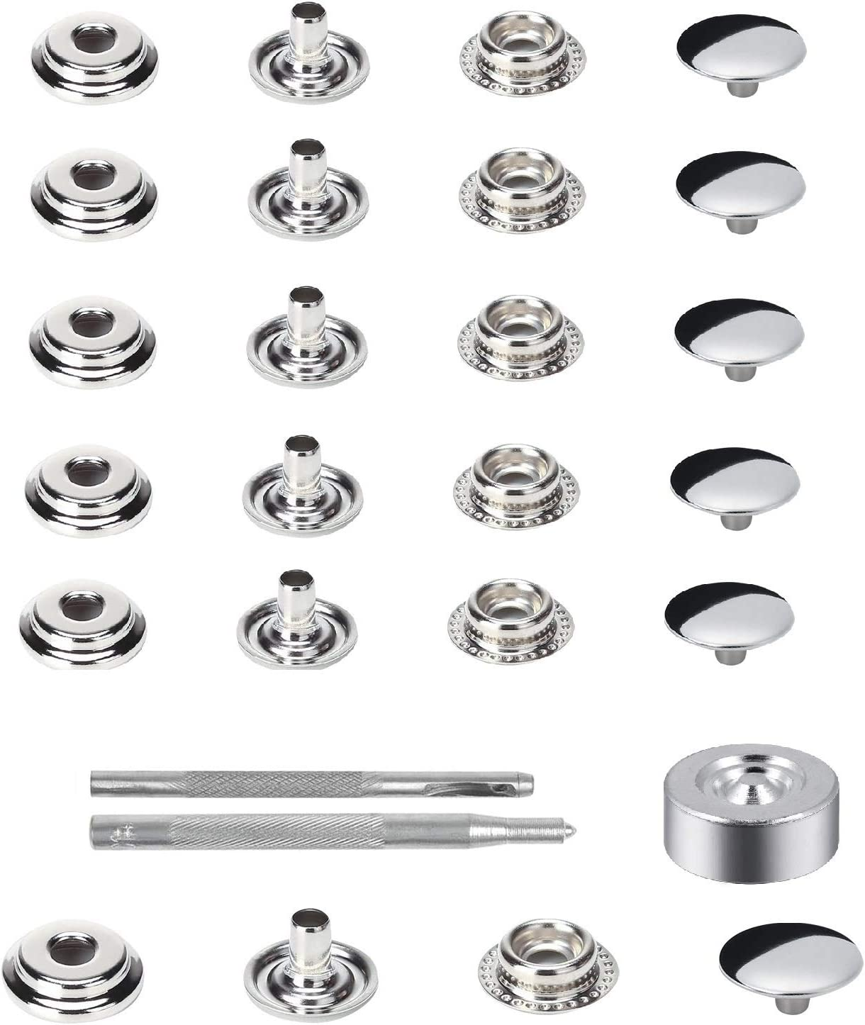 Laviesto Snap Fastener Kit, 200pcs Stainless Steel Snap Button Press Stud Cap with 3 Setting Tools for Bag Leather Craft Sewing(15mm)