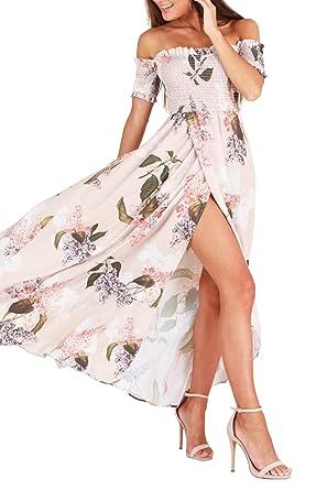 9392a7bf10e GREMMI Women Summer Beach Dress Off the Shoulder Floral Dresses Maxi Chiffon  Split Dress Beach Sundress