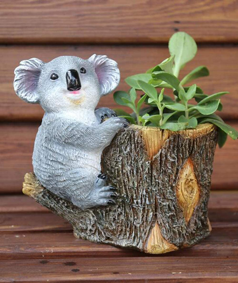 starbluegarden Amusing Mini Koala Statue Koala Tree Root Flowetpot Figurine Ornament Fairy Garden Decor Bookshelf Tabletop Flowetpot Decor Gift (Brown)