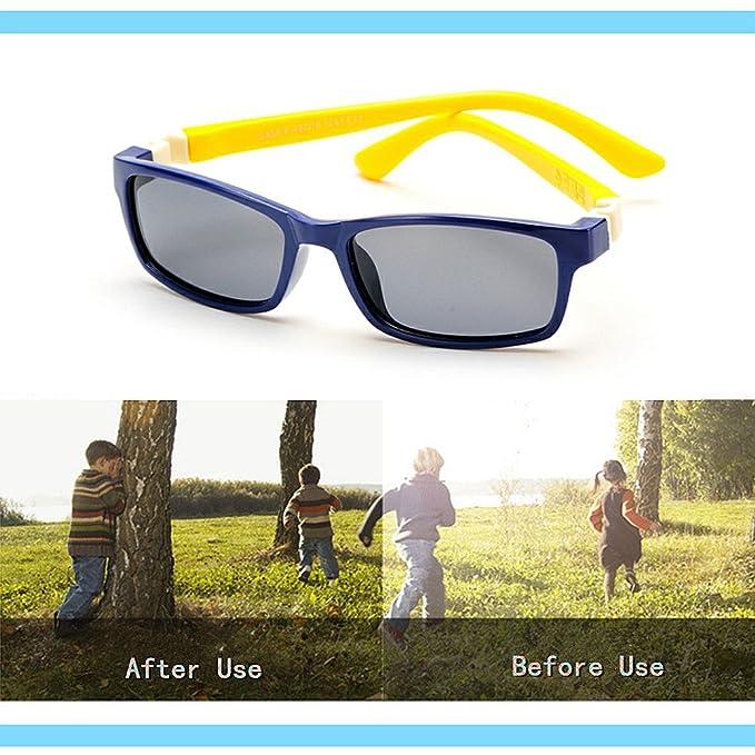 Aclth Niños Gafas de Sol polarizadas de los niños del Marco Completo del Gel de Silicona con la protección Ultravioleta del Caso para Las Muchachas de los ...