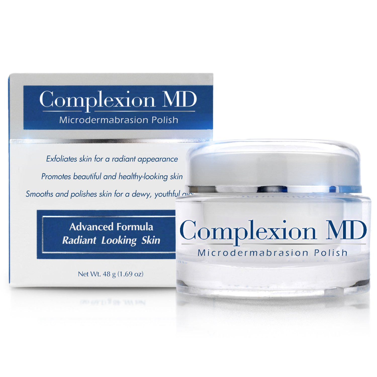Complexion MD Exfoliating Face Scrub -- Anti Aging & Pore Refining Microdermabrasion Facial Polish with Green Tea & Natural Pumice -- Spa Quality Home Exfoliation for Clear Youthful Skin (1.69oz/48g) by Complexion MD