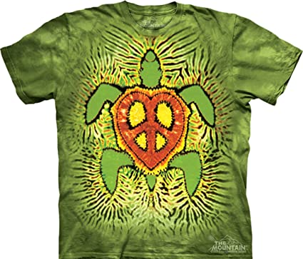 f71d2ffe1caf62 Tie Dyed Shop Peace Sign Tie Dye T Shirt- Rasta Turtle - Shortsleeve -Small