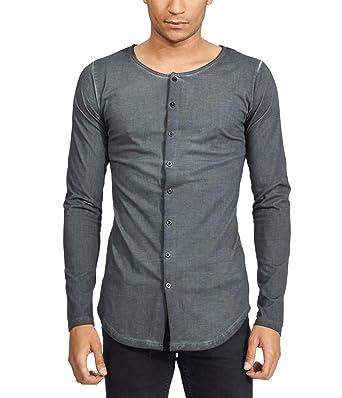 4d6c3598aa24 trueprodigy Casual Herren Marken Shirt Long Sleeve Einfarbig Basic ...