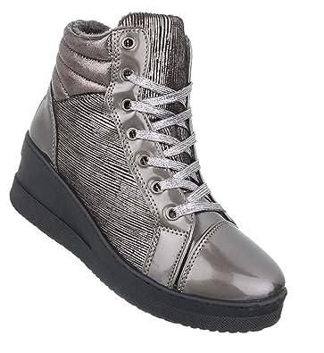 a65b4bae45 Schuhcity24 Damen Sneakers | Sportschuhe Lack Glitzer | Sneaker Wedges  Metallic Schnürer | Plateauschuhe Lack Cap Toes | Keilabsatz Schuhe:  Amazon.de: ...