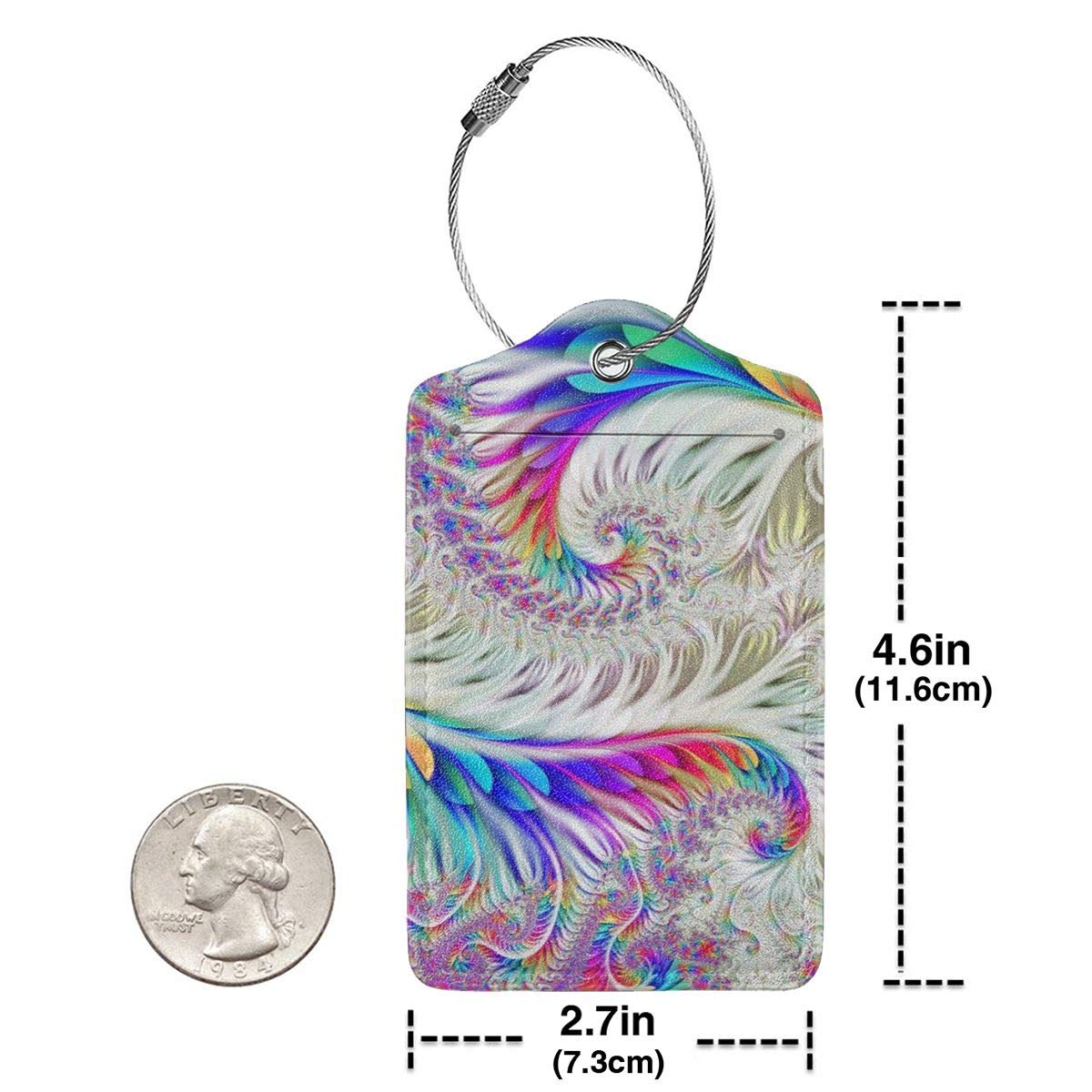 Colorful Tie Dye 2.7 x 4.6 Blank Tag Key Tags for Christmas Birthday Couples Gift Leather Luggage Tags Full Privacy Cover and Stainless Steel Loop 1 2 4 Pcs Set