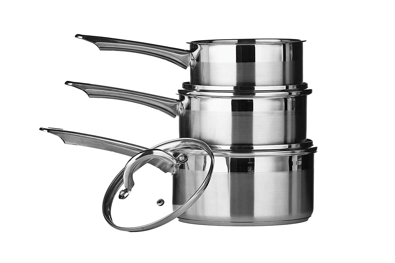 Premier Housewares Lot de 3 casseroles Inox 16//18//20 cm