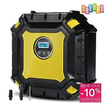 VFclar Luft Compresor Inflador Eléctrico Portátil Bomba de Aire con luces LED,pantalla LCD,