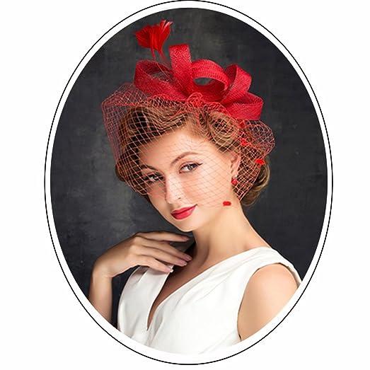 TTjII Cocktail Fashion Flower Sinamay Fascinator Hair Clip Veil Garden Women Kentucky Derby Church Tea Party