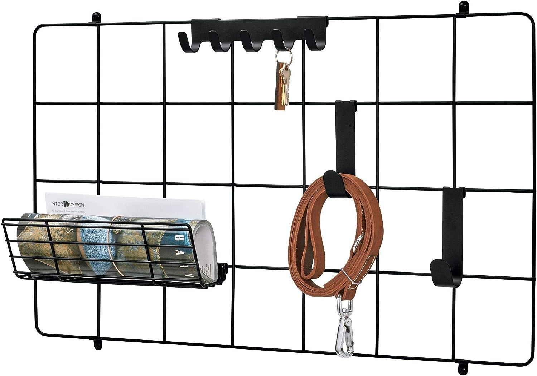 "iDesign Jayce Metal Wall Grid System, Modular Grid Organizational Panel for Additional Storage in Kitchen, Bathroom, Office, Craft Room, Garage, Basement 16.6"" x 28.16"" x 5.57"" - Matte Black"