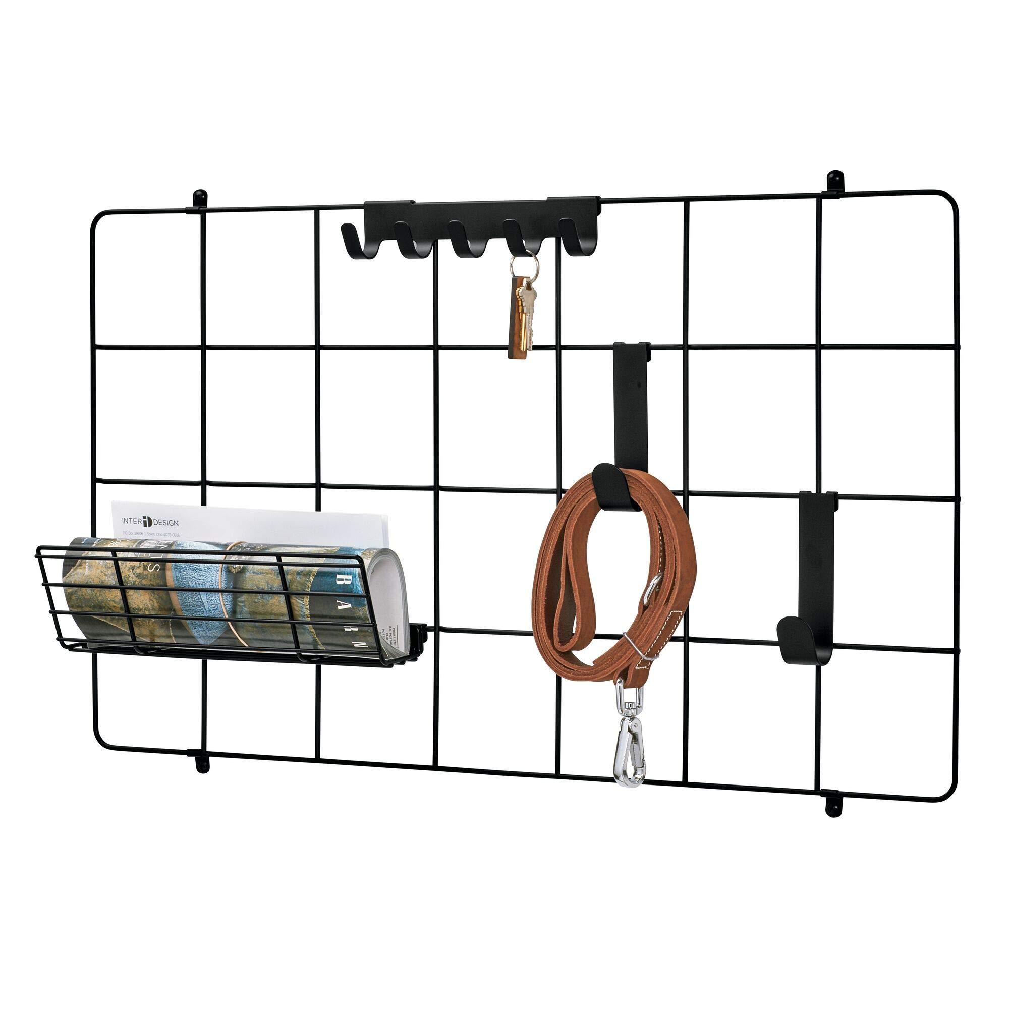 iDesign Jayce Metal Wall System, Modular Grid Organizational Panel for Additional Storage in Kitchen, Bathroom, Office, Craft Room, Garage, Basement, Matte Black