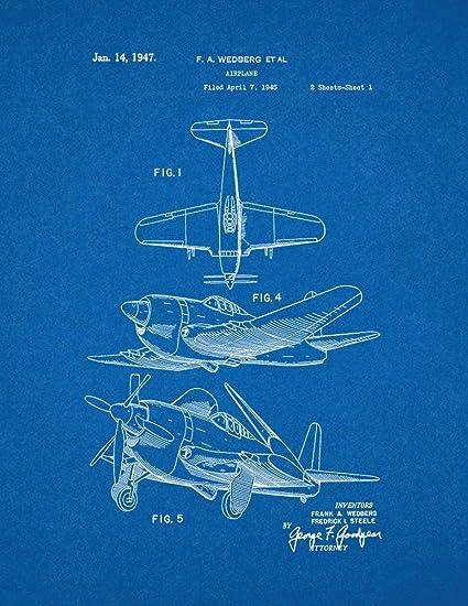 Amazon airplane patent print art poster blueprint 85 x 11 airplane patent print art poster blueprint 85quot malvernweather Choice Image