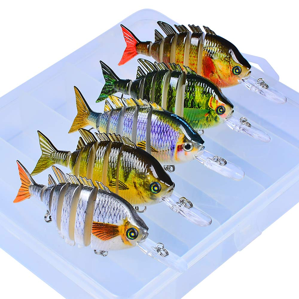Fishing Lures Bass Swimbaits Lure Crankbaits Artificial Bait Multi Jointed Lifelike Hard Baits Talipia Panfish Bluegill Sun Fish Tackle Kits with Box 5 pcs/Set