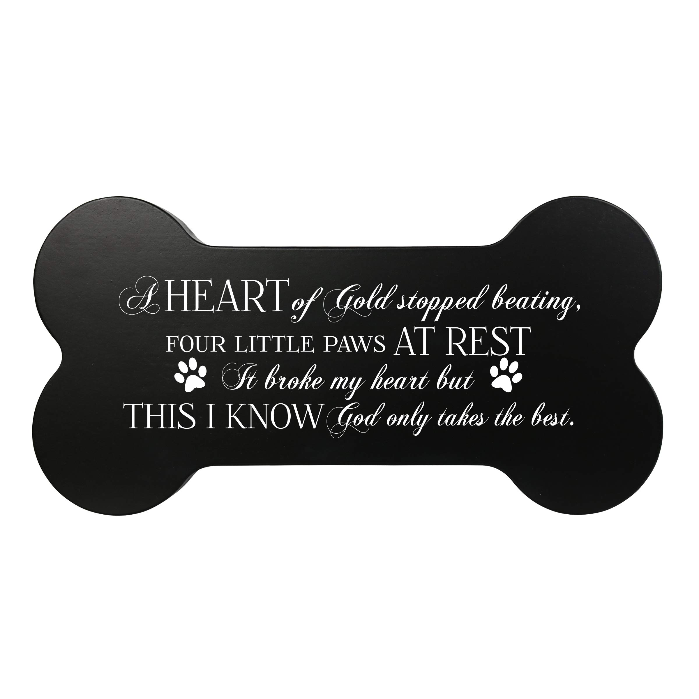LifeSong Milestones Dog Bone Cremation Urn Memorial Keepsake Box in Loving Memory for Loss of Loved Pet Small Urn for Dog Ashes Comfort Gift 5'' x 10'' Heart of Gold (Black)