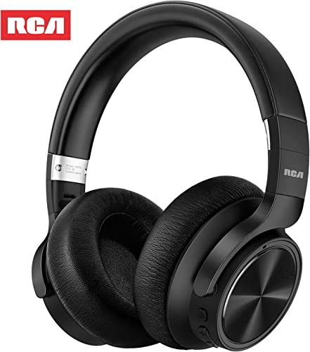 RCA Upgraded Active Noise Cancelling Headphones, Over Ear Wireless Bluetooth Headset with CVC 6.0 Microphone, 30Hrs Playtime, Foldable Soft Protein Earpads Earphones for Travel Work TV PC Phone