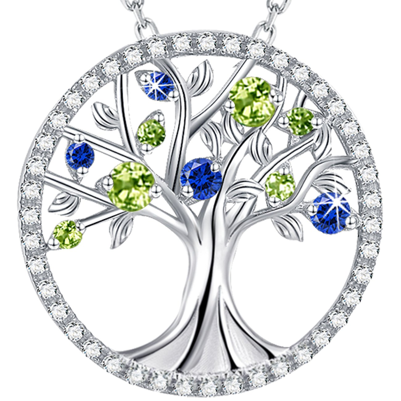 Elda&Co The Tree of Life Necklace September Birthstone Created Sapphire and Created Peridot Pendant Jewelry Sterling Silver Birthday for Her for Family