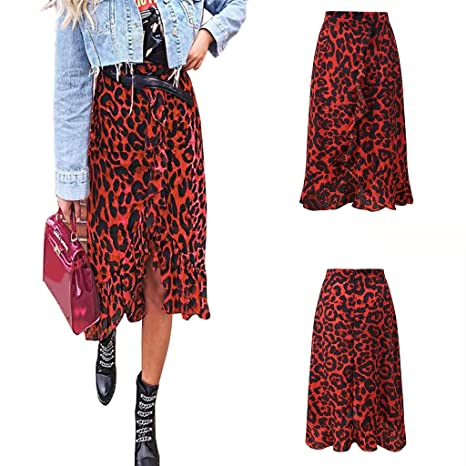 Xf Falda Womail Mujer Verano Estampado Leopardo Vintage Largo ...