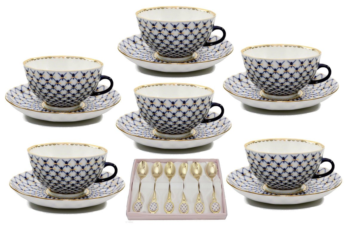 18-Pc. Fine Porcelain Russian Cobalt Blue Net Coffee Tea Cup & Saucer & Spoon Set, 24K Gold Accents Bone China, Saint Petersburg