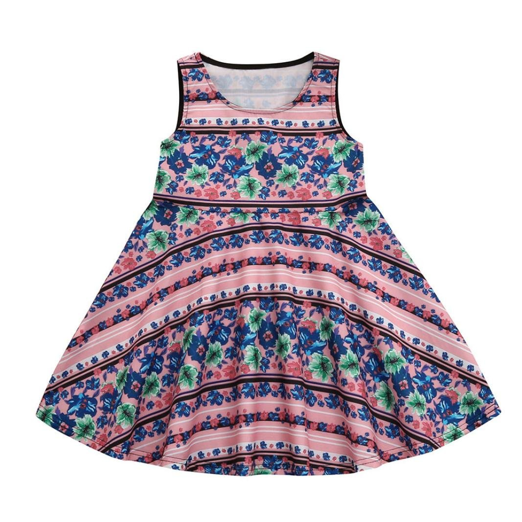 Alalaso Mommy &Me Floral Print Sundress Vest Sleeveless Slim Dress Family Clothes Parent-Child Dress (S, Baby)