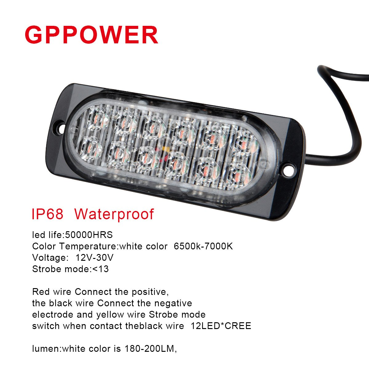 Amazon.com: GPPOWER Universal super thin 12-LED Blue 35-Flashing ...