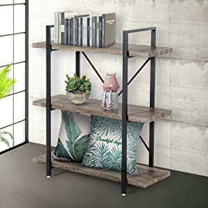 Seeutek Bookshelf 3 Tier Vintage Industrial Bookshelf Display and Storage Bookcase Wood and Metal Book Shelf for Home and Office