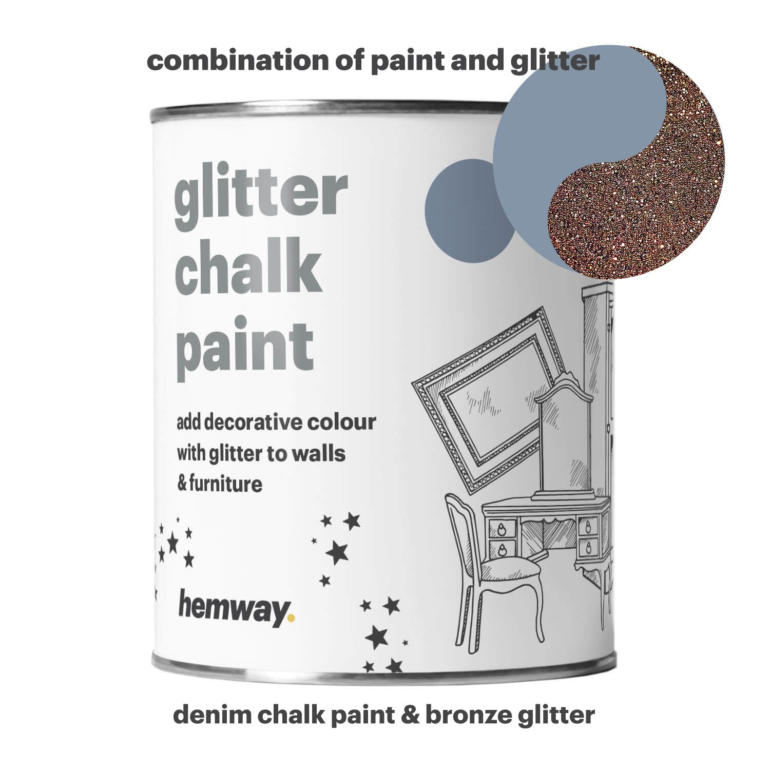 Hemway Denim Chalk Paint (with Bronze Glitter) Sparkle Matt finish Wall and Furniture Paint 1L/35oz Shabby Chic Vintage Chalky Crystal (25 Glittery Colours Available)