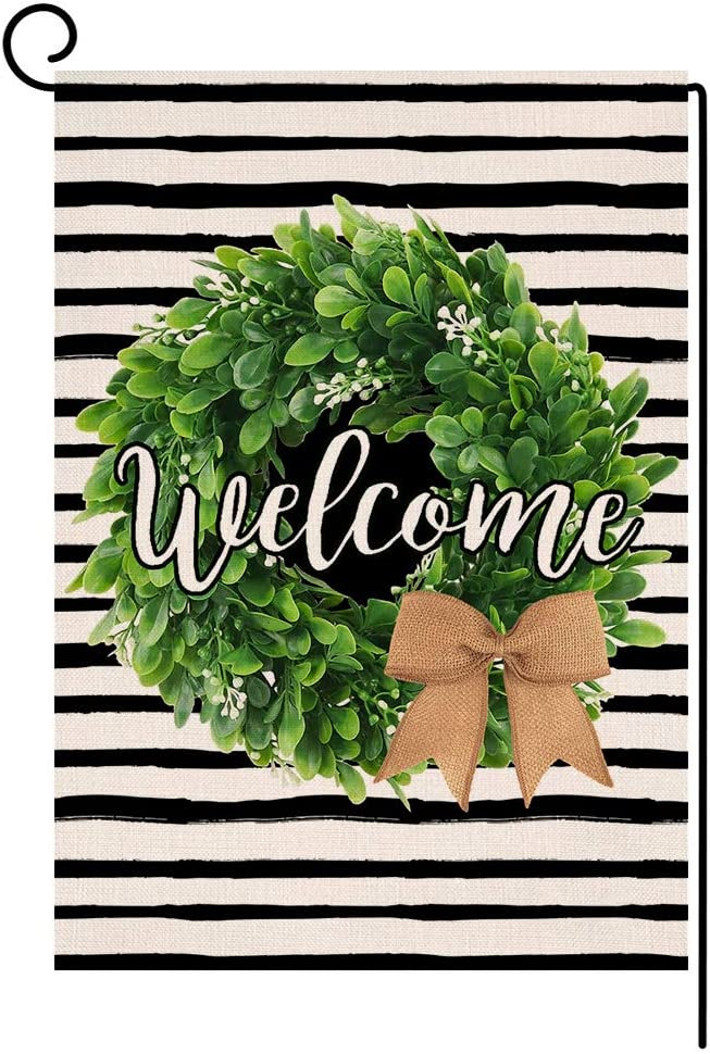 Stripe Boxwood Wreath Welcome Small Garden Flag Vertical Double Sided Farmhouse Spring Summer Burlap Yard Outdoor Decor 12.5 x 18 Inches (133354)