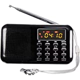 ELEGIANT Mini LCD Digital FM Radio USB TF/Micro SD Carte 16GB MP3 Stereo Musique Lecteur noir