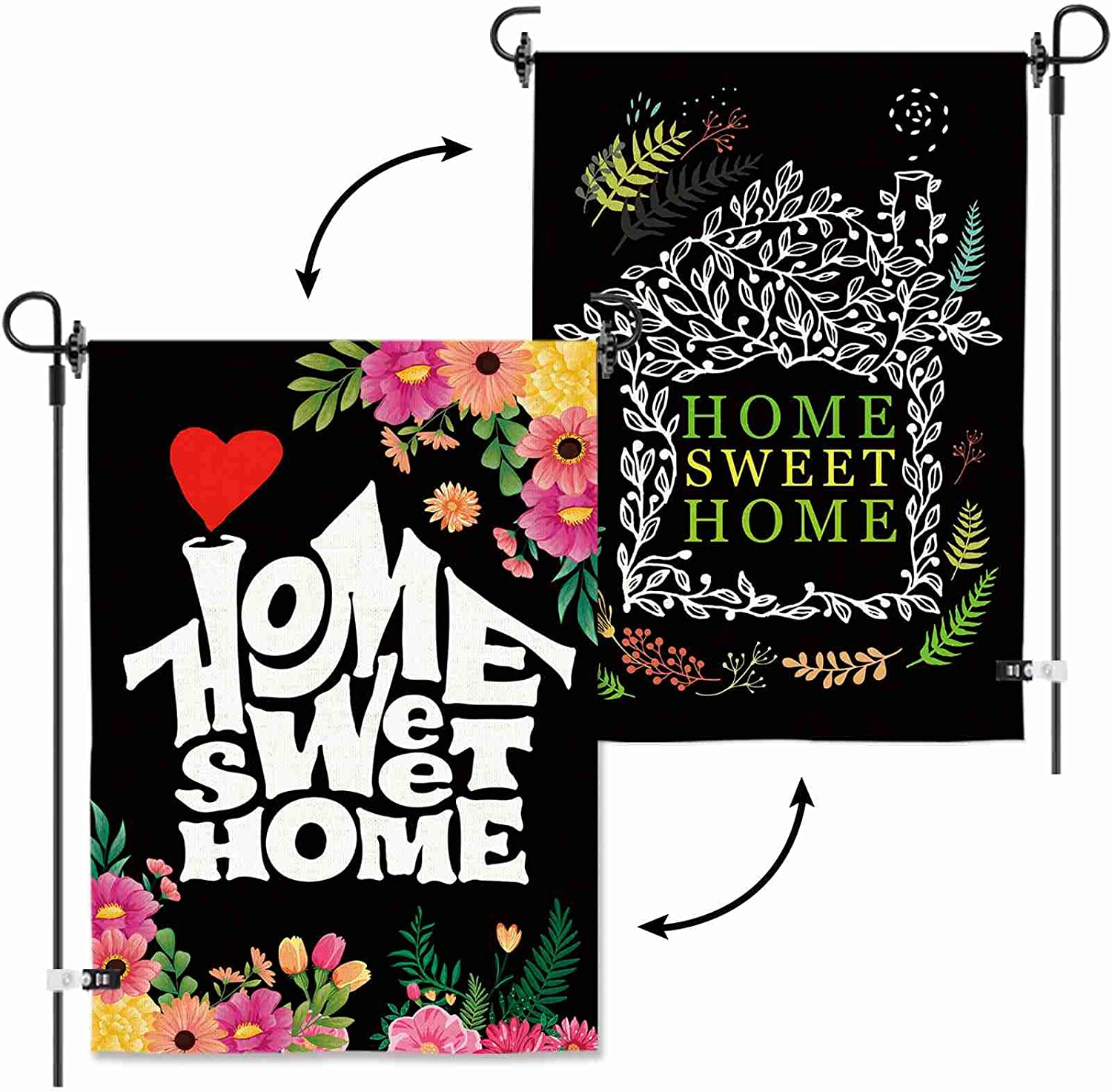 AOKDEER Home Sweet Home Garden Flag Flower Floral Double Sided Vertical Burlap Decorative House Small Spring Summer Banner Yard Flags Seasonal Garden Flag for Indoor /Outdoor 12.5 X 18 Inch