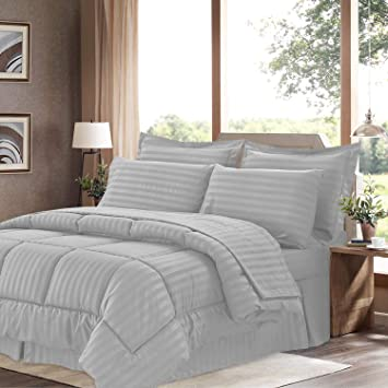8 Piece Hotel Stripe Comforter Sheet Set Queen Or King Bed In A Bag