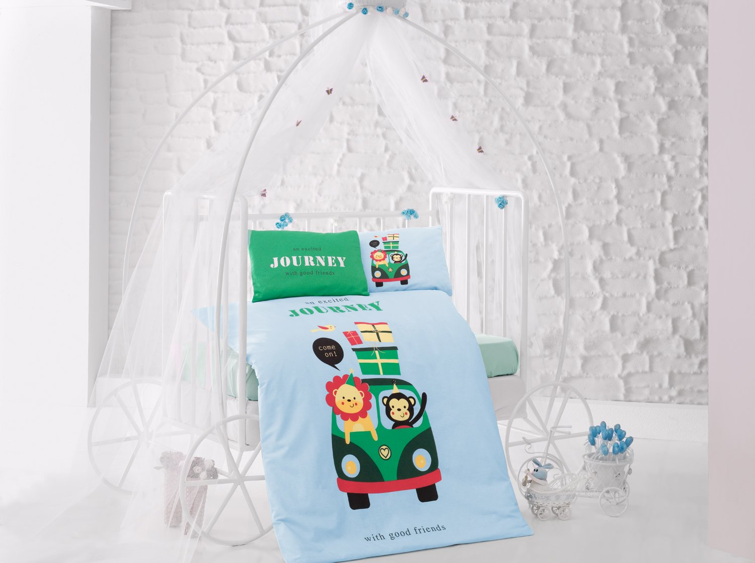 Journey Green Baby Cot Bed Duvet Cover Set, 100% Cotton Soft and Healthy 4-Pieces Bedding Set