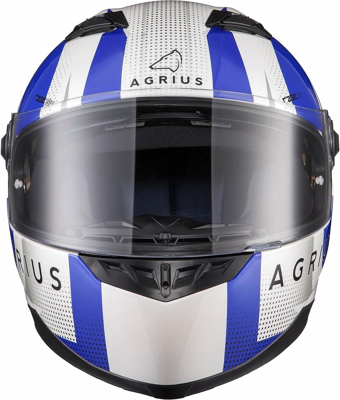 Agrius Rage SV Warp Motorcycle Helmet XL Gloss Pearl White//Blue