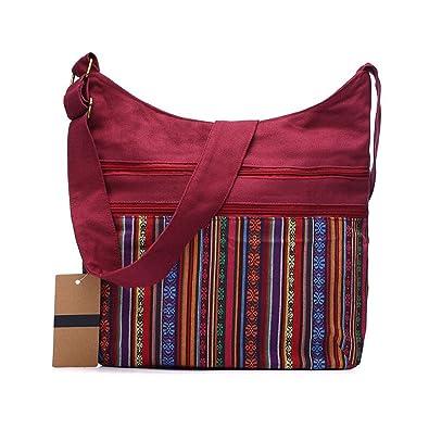 e80a4c6ea Amazon.com: Cotton Shoulder Bag Women Gypsy Hobo Bag Woven Crossbody  Messenger Bag: Shoes