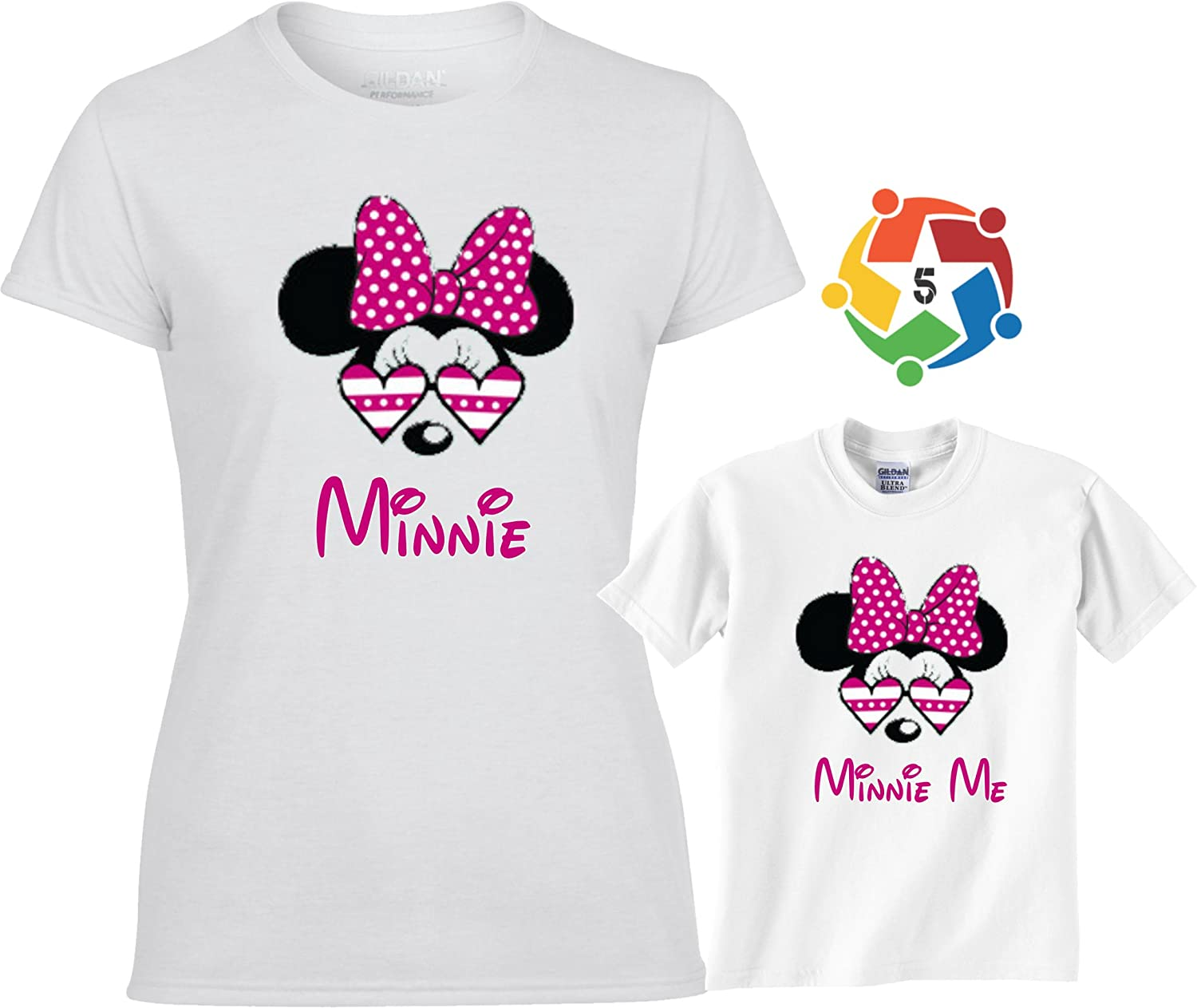 Mother Minnie and Minnie Me white t-shirt and baby grow set with red glitter