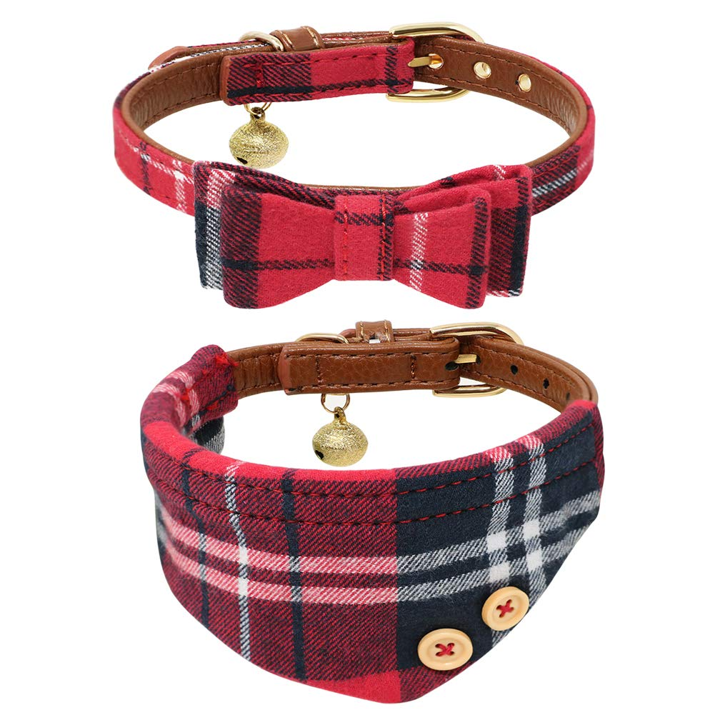 B Bascolor Pet Collar with Bell Leather and Plaid Bowtie Bandana Adjustable Collars for Puppy Dogs Cats Kittens 2 Pack