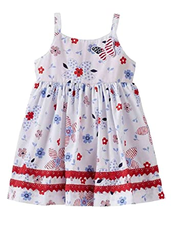 f9328178d167 Heartworks Infant & Toddler Girls Patriotic Butterfly Dress Floral Sundress  2T White