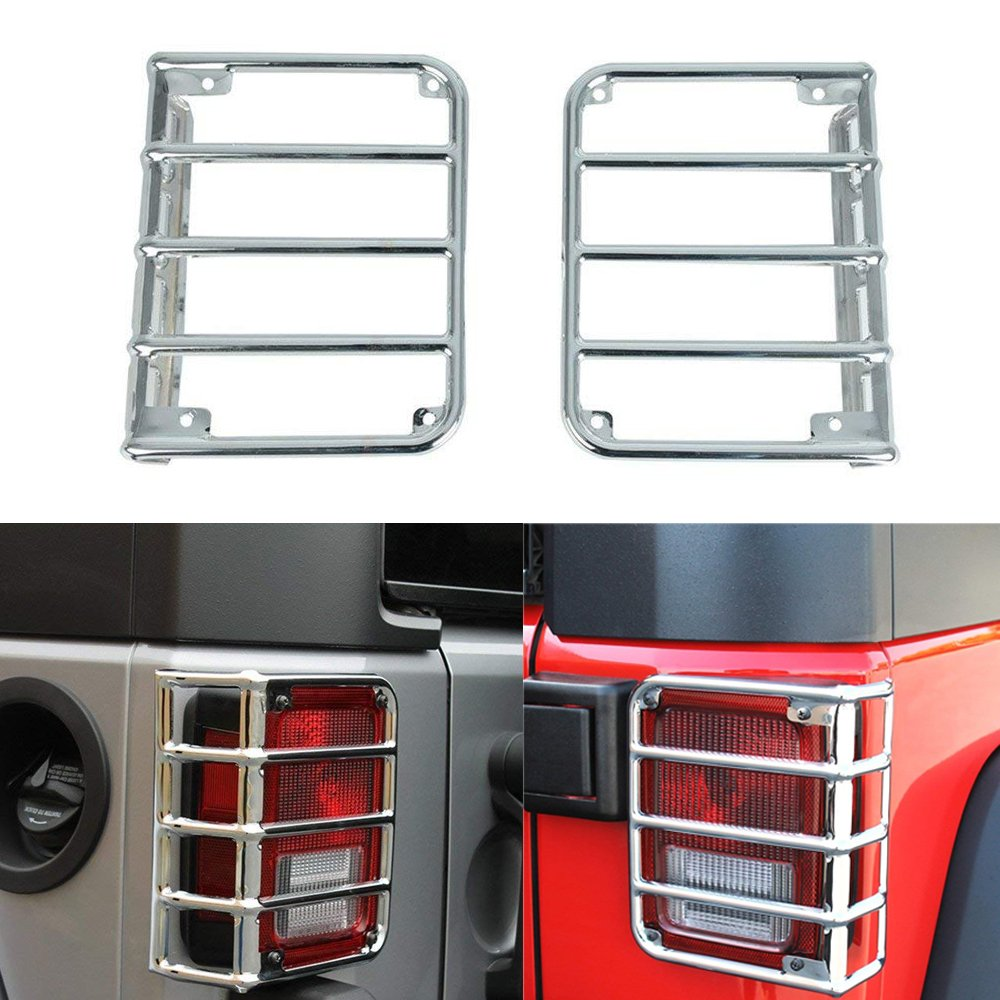 Bentolin Chrome Rear Euro Tail Light Guard Cover Protector for 2007-2017 Jeep Wrangler - Pair AM-World
